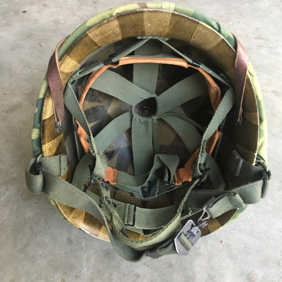 Early Vietnam War M-1C Airborne Helmet – WWII Pot, '62 Liner & Early 60's Cover +Parts