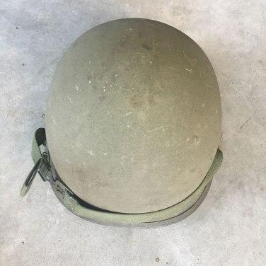M-1-Helmet-Korean-War-Steel-Pot-OD-Hardware-Rear